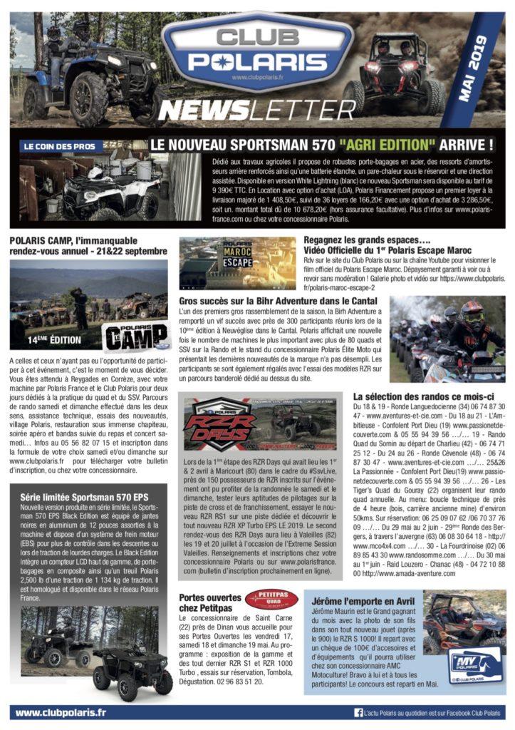 La Newsletter de Mai est parue!